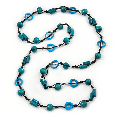 Long Teal Wood, Light Blue Bone Bead Black Cord Necklace - 116cm L