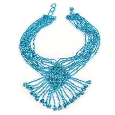 Light Blue Glass Bead V-Shape Tassel Necklace - 40cm L/ 12cm Drop