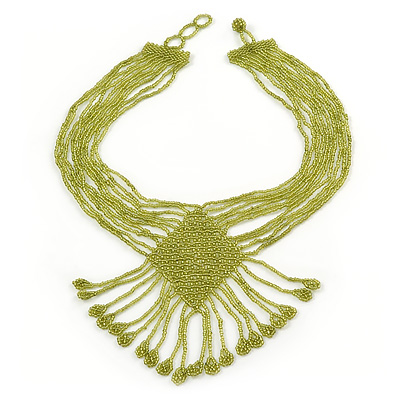 Light Olive Green Glass Bead V-Shape Tassel Necklace - 40cm L/ 12cm Drop
