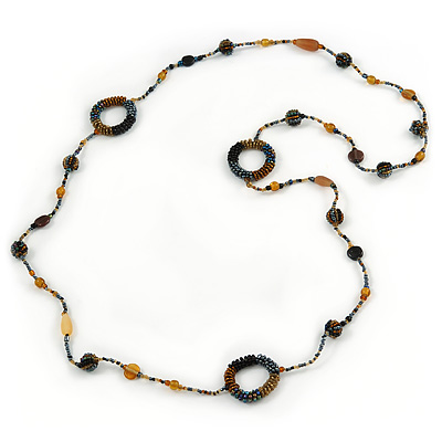 Long Single Strand Glass Bead Necklace (Balck/ Peacock/ Hematite/ Amber) - 124cm L