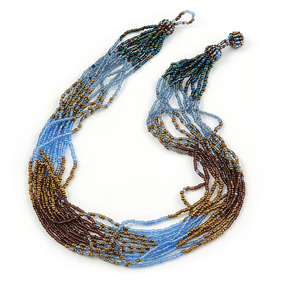 Bronze/ Plum/ Light Blue/ Peacock Small Glass Bead Multistrand Necklace - 48cm L