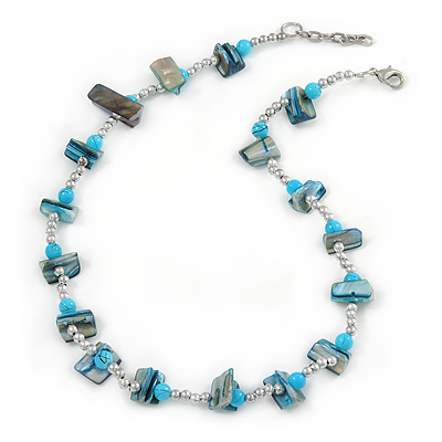Teal Blue Shell Nugget & Light Blue Ceramic Bead Necklace In Silver Tone - 46cm L/ 3cm Ext