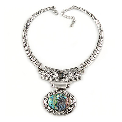 Ethnic Hammered Oval Pendant Necklace In Silver Tone Metal - 40cm L/ 6cm Ext