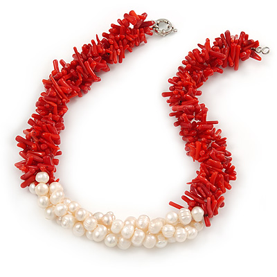 Statement 3 Strand Twisted Red Coral and Cream Freshwater Pearl Necklace with Silver Tone Spring Ring Clasp - 44cm L