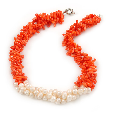 Statement 3 Strand Twisted Orange Coral and Cream Freshwater Pearl Necklace with Silver Tone Spring Ring Clasp - 44cm L