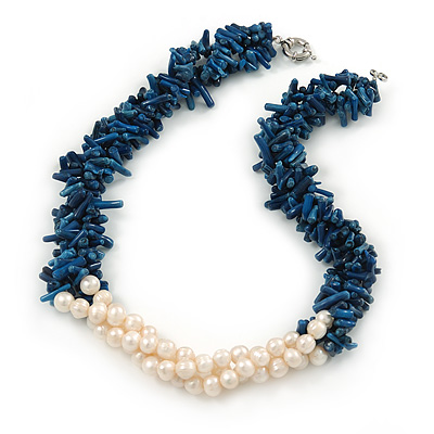 Statement 3 Strand Twisted Inky Blue Coral and Cream Freshwater Pearl Necklace with Silver Tone Spring Ring Clasp - 44cm L