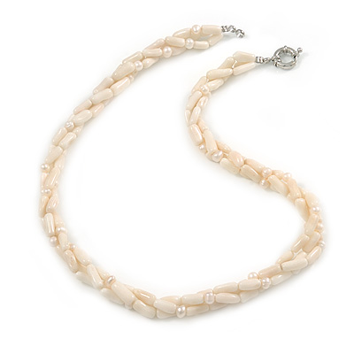 3 Strand Intertwine Off White Coral, Freshwater Pearl Necklace With Silver Tone Spring Ring Closure - 47cm L
