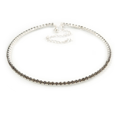 Light Grey Top Grade Austrian Crystal Choker Necklace In Rhodium Plated Metal - 35cm L/ 11cm Ext - main view