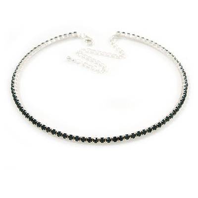 Dark Green Top Grade Austrian Crystal Choker Necklace In Rhodium Plated Metal - 35cm L/ 11cm Ext