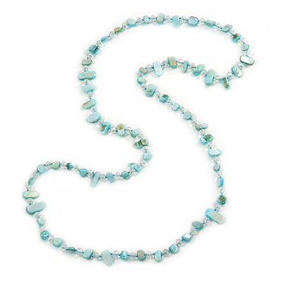 Long Pastel Mint Blue/ Transparent Shell Nugget and Glass Crystal Bead Necklace - 110cm L