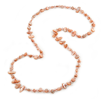 Long Pastel Salmon/ Coral/ Transparent Shell Nugget and Glass Crystal Bead Necklace - 110cm L
