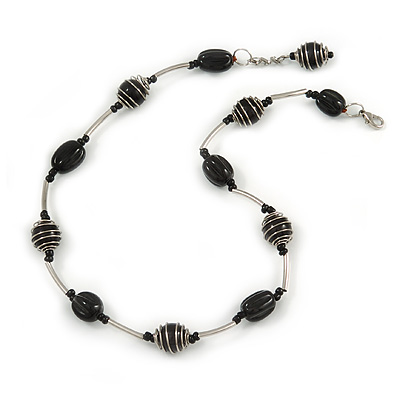 Black Ceramic Bead with Wire Element Neckalce In Silver Tone - 48cm L/ 6cm Ext