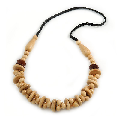 Natural Wood Bead with Black Cotton Cord Necklace - 72cm L