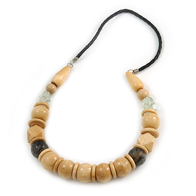 Chunky Natural Wood Bead with Black Faux Leather Cord Necklace - 70cm L