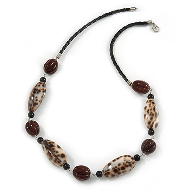 Animal Print Shell Componets and Brown/Black Ceramic Beads with Black Faux Leather Cord - 64cm L - main view