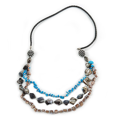 Long Layered Shell Nugget and Semiprecious Stone with Black Faux Leather Cord Necklace - 86cm L