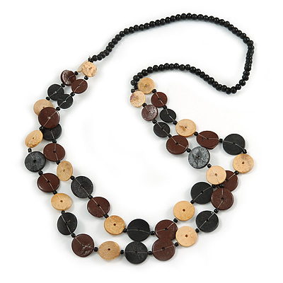 2 Strand Button Shape Wood Bead Necklace In Brown, Black, Natural Colours - 80cm Long