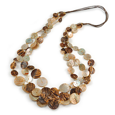 Long Multistrand Brown Shell Necklace with Dark Brown Cotton Cords - 86cm L