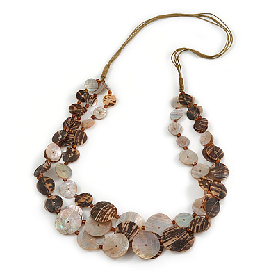Long Multistrand Brown Shell Necklace with Olive Cotton Cords - 80cm L