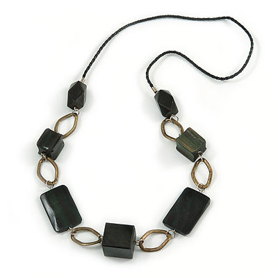 Dark Green Wood Bead with Bronze Oval Link Black Faux Leather Cord Necklace - 90cm L