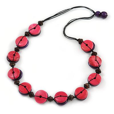Deep Pink/ Purple Button Shape Wood Bead Black Cotton Cord Necklace - 72cm L