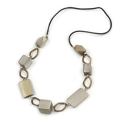 Geometric Wood Bead with Bronze Oval Link Black Faux Leather Cord Necklace (Metallic Silver) - 86cm L