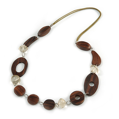 Long Brown Wood and Transparent Acrylic Bead with Olive Cotton Cords Necklace - 80cm L