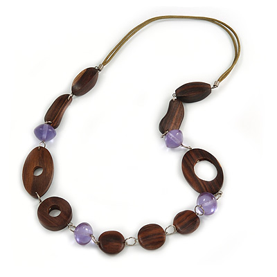 Brown Wood, Lavender Ceramic Bead with Olive Cotton Cords Necklace - 70cm L