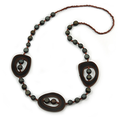 Brown/ Black Resin and Glass Bead Long Necklace - 86cm L