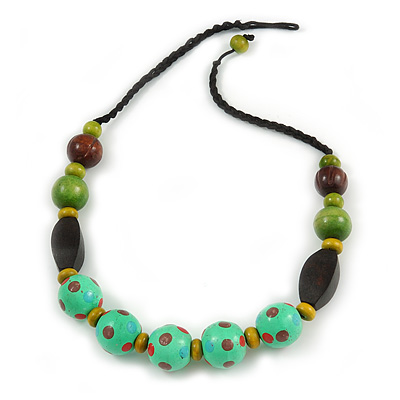 Chunky Wood Bead Cotton Cord Necklace (Mint Green, Brown, Olive) - 60cm L
