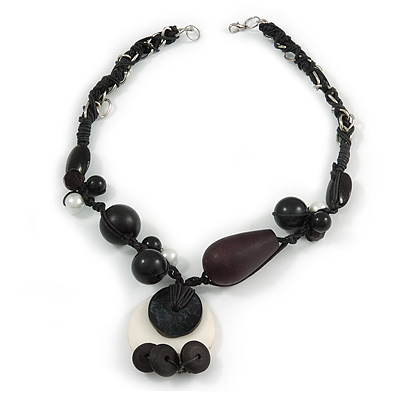 Black/ White Ceramic, Resin Bead Cluster Cotton Cord with Silver Chain Chunky Necklace - 48cm L