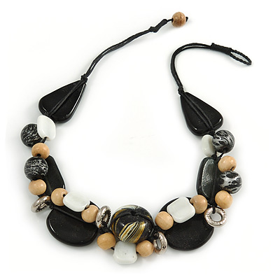 Statement Cluster Ceramic, Wood, Glass Bead Necklace with Black Cotton Cord (Natural, Black, White) - 50cm L