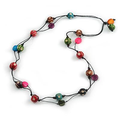Long Multicoloured Wood Bead Black Cotton Cord Necklace - 110cm L