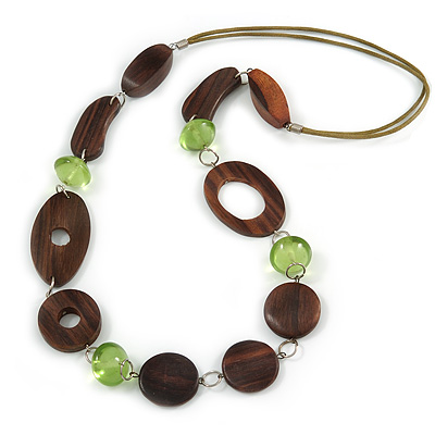 Long Brown Wood and Green Acrylic Bead with Olive Cotton Cords Necklace - 80cm L