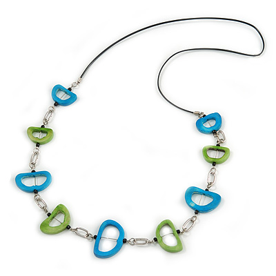 Green/ Blue Bone Bead Black Cord Necklace - 90cm L