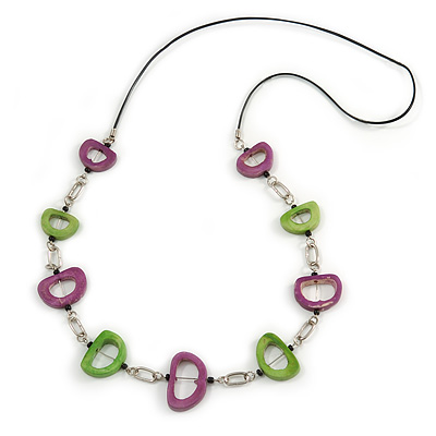 Light Green/ Purple Oval Bone Bead with Silver Tone Link Black Faux Leather Cord Necklace - 90cm L