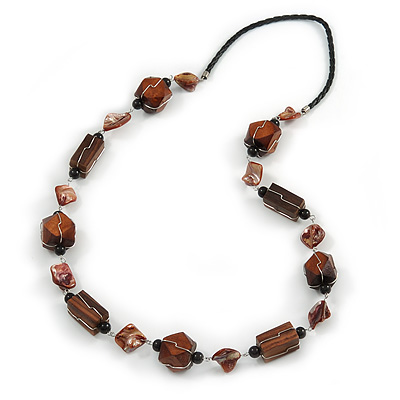 Striking Wood and Shell Bead with Silver Tone Wire Element Black Faux Leather Cord Necklace - 80cm L