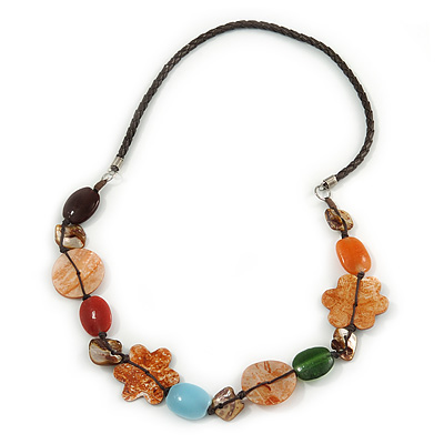 Multicoloured Shell, Ceramic Bead Brown Faux Leather Cord Necklace (Orange, Brown, Blue, Green) - 66cm L - main view