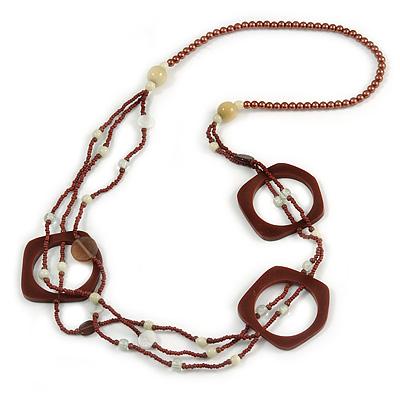 Long Multi-strand Brown/ Cream Ceramic Bead, Acrylic Ring Necklace - 90cm L - main view