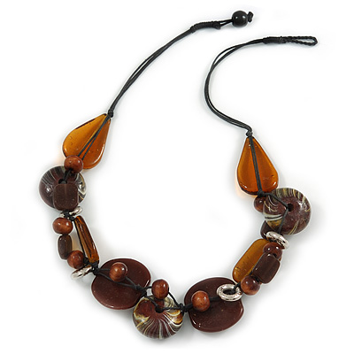 Statement Cluster Ceramic, Wood Bead and Silver Tone Ring Necklace with Black Cotton Cord (Brown, Black) - 56cm L - main view