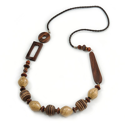 Chunky Wood Bead with Faux Leather Cord Long Necklace - 90cm L