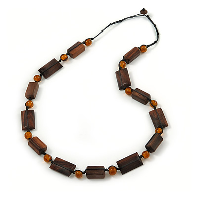 Long Brown Wood Bead, Orange Ceramic Bead Necklace with Black Cords - 76cm L