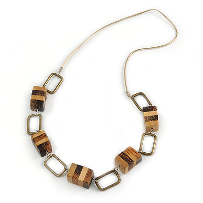 Statement Brown/ Natural Wood Bead and Bronze Square Metal Link Gold Cord Necklace - 76cm L