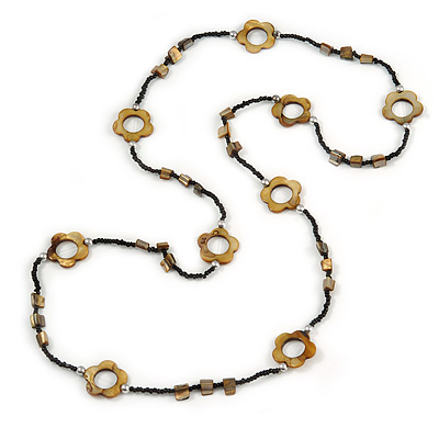 Long Black Glass Bead and Brass Brown Shell Flower Necklace - 110cm L