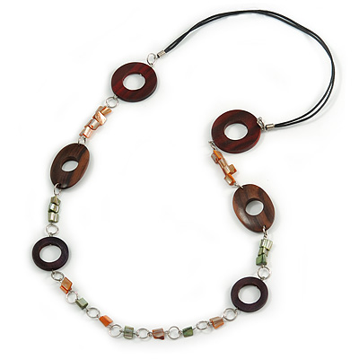 Wood and Shell Cotton Cord Necklace (Orange/ Brown/ Green) - 94cm L