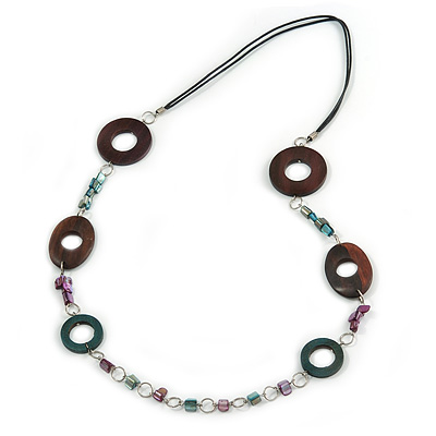 Wood and Shell Cotton Cord Necklace (Teal/ Brown/ Fuchsia) - 94cm L