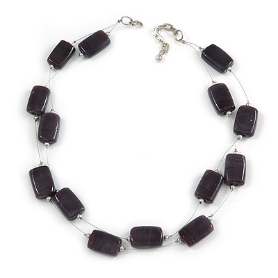 Two Strand Square Plum/ Purple Glass Bead Silver Tone Wire Necklace - 48cm L/ 5cm Ext