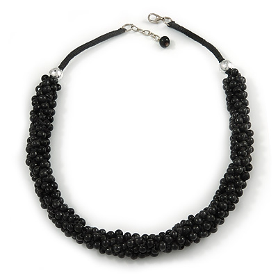Statement Chunky Black Cluster Bead with Cotton Cord Necklace - 50cm L/ 3cm Ext