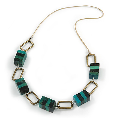 Statement Teal Green Wood Bead and Bronze Square Metal Link Gold Cord Necklace - 76cm L