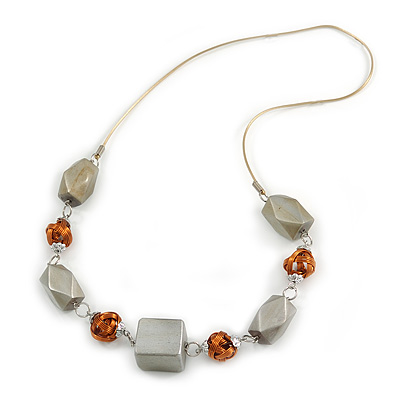 Bold Geometric Wood Bead and Wire Ball Rubber Cord Necklace (Glitter Silver, Copper) - 70cm Long